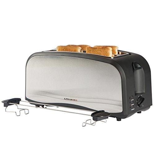 Ultratec Doppelschlitz-Toaster in Mattschwarz / Edelstahl, für 4 Toastscheiben Toaster Groß