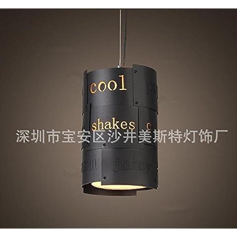 YanCui@ Soggiorno e sala/bar/sala da pranzo/camera da letto Lampadari Pendente lettera in ferro battuto , s 18cm black