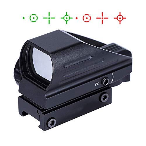 KINGSCOPE Red Dot Visier 22mm/20mm Weaver oder Picatinny Railsysteme Airsoft Red Dot Scope Reflex Sight mit Montage und Schutzkappe 4 Absehen -
