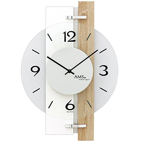 AMS 9557, aktuelles Wanduhren-Design mit Gehäuse aus Sonoma-Eiche - Aluminium-Applikationen und Glas-Elementen, Designer Wohnzimmeruhr modern, Wanduhr geräuscharm für Büros und Geschäfte