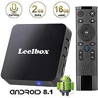Android 8.1 TV Box-Leelbox Smart Android TV Box con Voice Remote Control, Quad core 2GB RAM+16GB ROM/2.4G WIFI/Full HD/4K*2K UHD H.265/Android Box