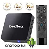 Leelbox - [2018 Dernière Version ] Q2 Android 8.1 TV Box Voice remote control Smart TV Box 2GB RAM+16GB ROM Supporte WiFi 2.4 GHz / H.265 / HD / 4K/ 3D