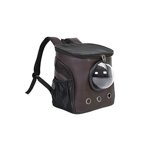 Alapet Atmungsaktives Mesh-Doppel-Schulter-Raumtasche, kühler und atmungsaktiver PU-Leder-Haustierrucksack, Kleiner Hund aus tragbarer transparenter Kabinentasche, bequem und atmungsaktiv, stilvolles -
