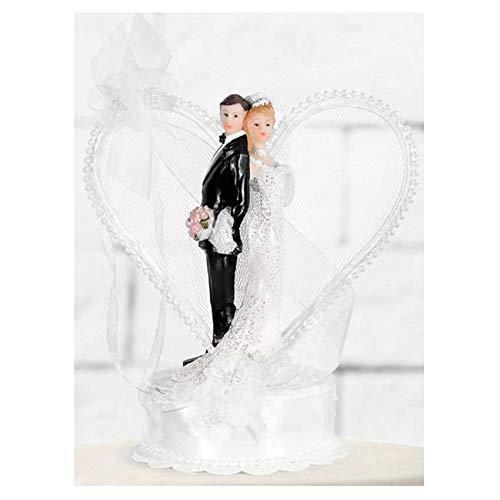 jakopabra Torten - Figur Hochzeit Brautpaar mit Herzbogen (perlenbesetzt weiß)