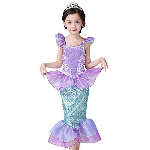 (De feuilles Kinder Mädchen Prinzessin Kostüm Meerjungfrau Kleid Fasching Party Halloween Rollspielen Weihnachten)
