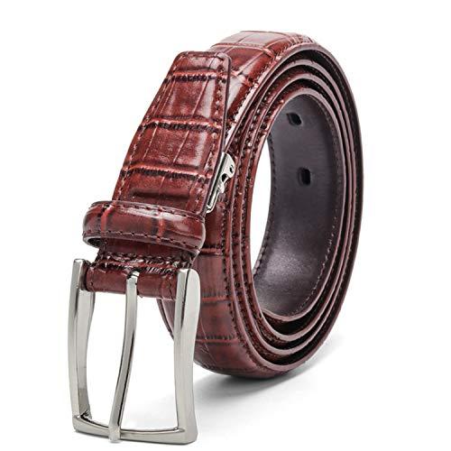 Availcx Cinturones de hombres ocasionales Patrón de cocodrilo Cinturones de piel de vaca de 3,0 cm Cinturón de cuero genuino unisex