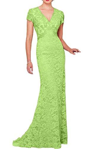 Promgirl House Damen Elegant Lang Aermellos festliches Kleid Satin Spitze Schleppe Abendkleider Cocktailkleider Ballkleider Lang Hellgruen
