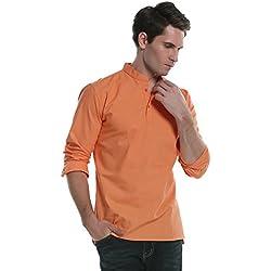 Coofandy Camisa de Vestir de Lino Hombre Cuello Mao Manga Larga Casual Naranja XL
