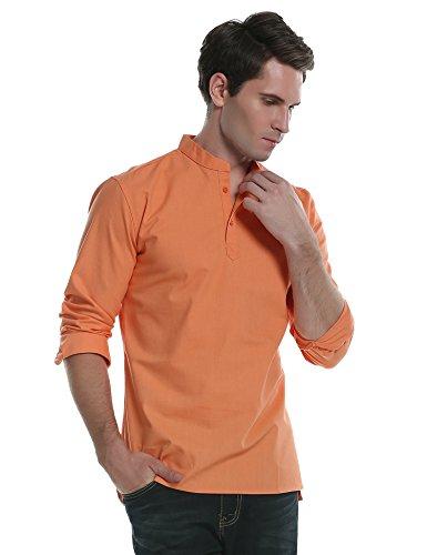 Coofandy camicia casual uomo manica lunga slim fit collo coreano tinta unita lino estate arancione s