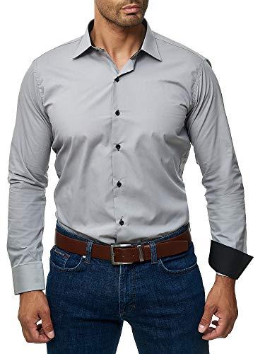 J'S FASHION Herren-Hemd - Slim Fit - Bügelleicht - Langarm-Hemd für Business Freizeit Hochzeit - Grau - L - Baumwolle Ein-knopf-blazer