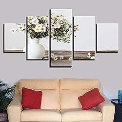 5 Piezas Blancas pequeñas Margaritas Flores modulares Pinturas para Sala de Estar HD Lienzo Cuadros decoración del hogar Arte de la Pared carteles-30x40cmx2 30x60cmx2 30x80cmx1
