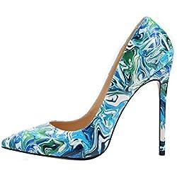 uBeauty Damen High Heels Stilettos Slip-on Pumps Spitze Zehen Klassischer Übergröße Schuhe Mehrfarbig 37 EU