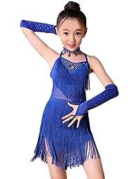 K-youth Ninas Borla Latino Vestido De Baile Vestido Danza Latina Niña Traje  Baile Tango Salsa Deportivo Salón Ropa… 40195becec31f