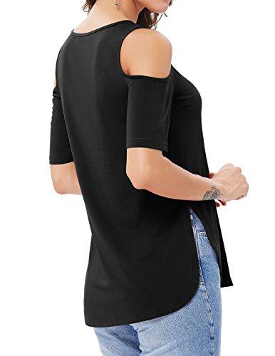 Kate Kasin Damen Tunika T-Shirt Top Shirt Bluse Baumwolle Schulterfrei Kurzarm Oberteil Schwarz KK339 Schwarz-339