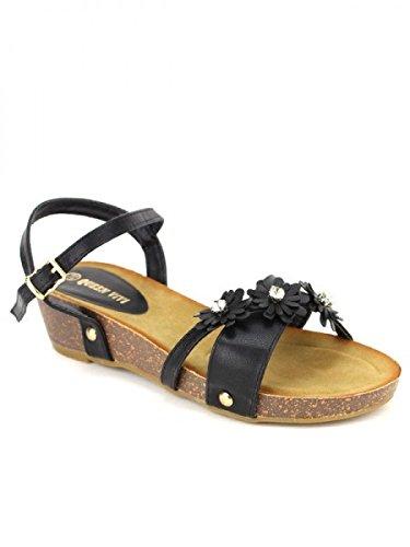 Cendriyon, Compensée Petites Fleurs QUEEN Chaussures Femme Noir