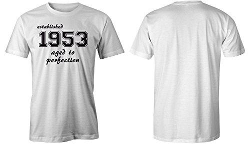Established 1953 aged to perfection ★ Rundhals-T-Shirt Männer-Herren ★ hochwertig bedruckt mit lustigem Spruch ★ Die perfekte Geschenk-Idee (02) weiss