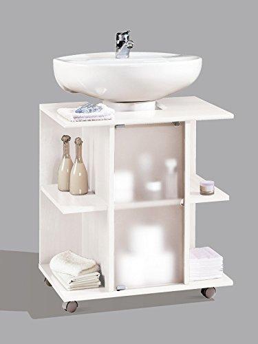 Mueble, modulo bajo para lavabo de baño, varios estantes y puerta de cristal, color blanco