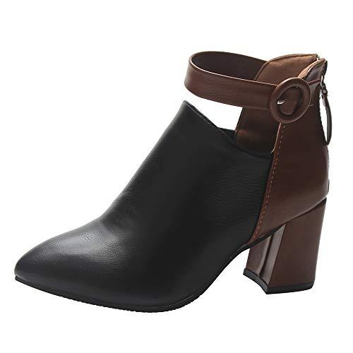 MYMYG Damen Boots Stiefel Schnalle Frauen Zip Spitzschuh High Heel Stiefel Stiefeletten Freizeitschuhe Solide Lederschuhe Walkingschuhe Freizeitschuhe Für Party Hochzeit (Weihnachten Übergröße Kostüm)
