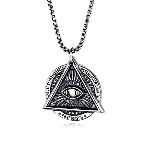 YX Pendant Freimaurer Devil's Eye Halskette Herren Edelstahl Halskette Punk Influx Anhänger Geben Sie Ihrer Freundin Mama Black