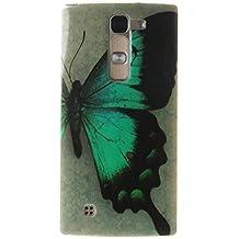 "LG G4c Funda, SsHhUu Azul Mariposa Ultra Slim Suave TPU Flexible Durable Gel Silicona Protector Rear Skin Painting Art Carcasa Tapa Case Cover para LG G4c H525N / LG G4 mini (5.0"")"