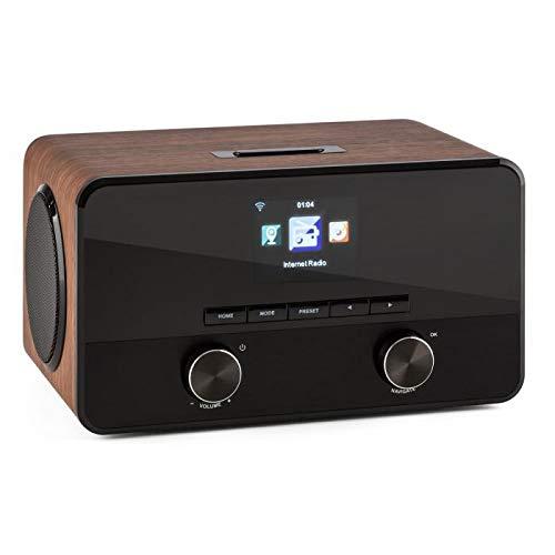 auna Connect 100 Radio de Internet • 2 x 5 vatios Altavoz • Señal Digital • Interfaz WLAN • Streaming • Bluetooth • Puerto USB • AUX • Compatible MP3 • Función Despertador • Menú multilingüe • Madera