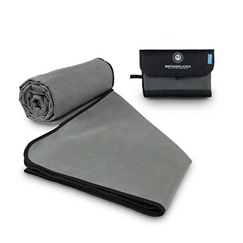 BERGBRUDER Mikrofaser Handtücher (Set SL = 1x S 80x40 cm & 1x L 160x80 cm, Grau-Schwarz)