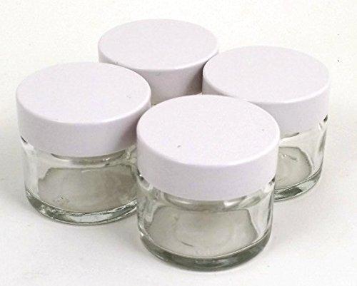 4 x Piccolo 15ml Trasparente Barattoli Di Vetro/Pentole con bianco coperchi. Per Balsami Per Labbra, Erbe, Spezie, Facecream, Pomate & Candele
