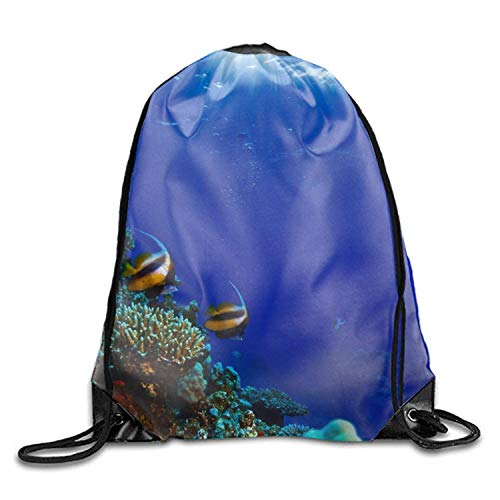 Nizefuture Fabulous Sea Fiah Waterproof Drawstring Backpack travel Tote Bags for Gym Hiking Fabulous Sheer