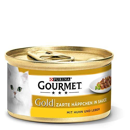 Purina GOURMET Gold Zarte Häppchen in Sauce, Katzennassfutter, für anspruchsvolle Katzen, Tiernahrung / Nassfutter, Dose -