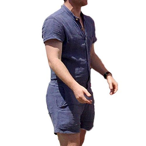 Uomo Senza Colletto Jumpsuit Corta Pianura Colorato Casual Slim Tutina Tuta da Lavoro Moda Maniche Corte Salopette S M L XL