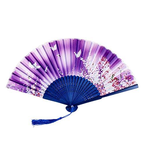 Andouy Retro Faltfächer/Handfächer/Papierfächer/Federfächer/Sandelholz Fan/Bambusfächer für Hochzeit, Party, Tanzen(21cm.Lila-Schmetterling)