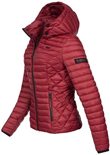 Marikoo Damen Jacke Steppjacke Übergangsjacke mit Kapuze gesteppt B600 [B600-Samt-Grannit-Rot-Gr.XS] - 2
