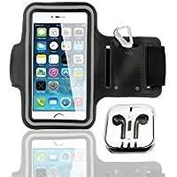 Genius Factory®Brazalete deportivo para brazo de iPhone 5, 5s, 6, 6+ Con Auriculares Carcasa Ajustable para deportes, gimnasio, correr, bicicleta