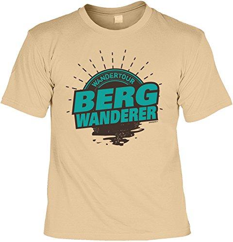 Freizeit/Wander/Kletter-Shirt/Sprüche-Shirt Thema Wandern: Wandertour Bergwanderer für Gipfelstürmer Sand