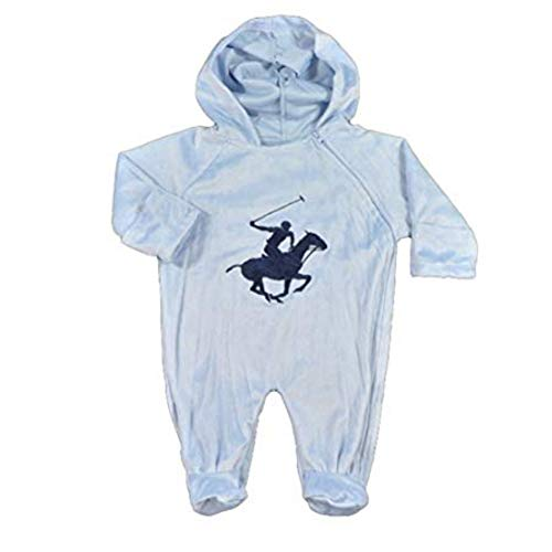 Ralph Lauren-polo-jungen Overall (Beverly Hills Polo Club kuschliger Baby SAMT Strampler Overall mit Kapuze hellblau 62-68 (62-68))