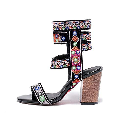 HOESCZS 2018 Sommer Marke Natürliche Kuh Suwde Ankle Wrap Frauen Sandalen High Heels Ethnische Schuhe Frau Mode Datum Party Schuh,Schwarz,36 Rote Ankle Wrap