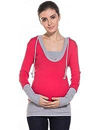 MODETREND Premamá Sudaderas con Capucha para Mujeres Embarazo Mama Sweatshirt Encapuchada Blusas Hoodie Camiseta de Maternidad