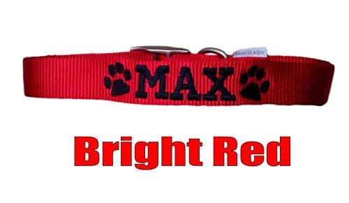 Personalised Strong Nylon Dog Collars Pink Blue Red Black FREE Embroidered Personalisation. ID Collar. (20 Inch (L)) 6