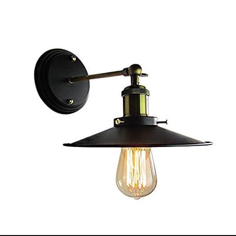 Lampe de mur de petit parapluie noir simple vêtements vintage magasin entrepôt unique soucoupe volante (sans éclairage),Diamètre de 220mm