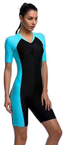 YEESAM Girls & Ladies Modesty Jumpsuit One Piece Swimsuit Surfing Suit Short Sleeve UPF 50+ Swimming Costume