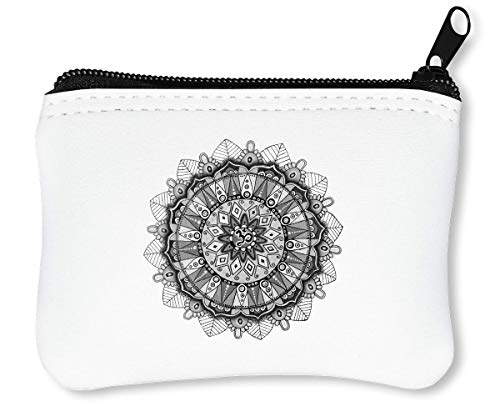 Peace Mandala White Handmade Drawing Sacred Circle Healing Power Reißverschluss-Geldbörse Brieftasche Geldbörse -