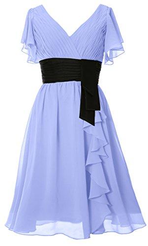 MACloth Elegant Short Sleeve Mother of Bride Dress V Neck Cocktail Formal Gown Sky Blue