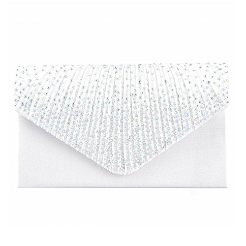 Lifewish Satin Strass Damen Clutch Abendtasche Handtasche Umhaengetasche Weiß