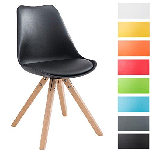 CLP Sedia dal design vintage TOULOUSE con gambe quadrate in legno color naturale, schienale in plastica, seduta in similpelle e imbottita. nero