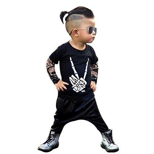 sunnymi Kleider ★ Jungen Finger Muster Sets ★Winter 2017 Tunika Lederhose/Baby Kinder (6 Monate)