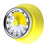 Qingtian Timer da Cucina, Timer Meccanico da Cucina, Conto alla Rovescia Magnetico- con Allarme Forte, Giallo Chiaro