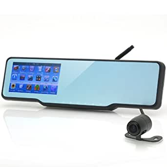 SHOPINNOV Retroviseur Bluetooth GPS Détecteur de zones dangereuses intégré