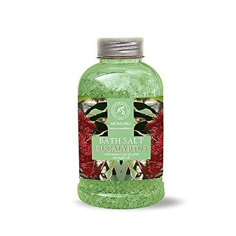 Badesalz Eukalyptus, Meersalz mit natürlichem ätherischen Eukalyptusöl, natur Bade-Salz am besten für guten Schlaf /Stressabbau / Beauty/ Baden /Körperpflege /Wellness /Schönheit /Entspannung / Aromatherapie/SPA, Badezusatz - 1er Pack (1 x 600 g), von AROMATIKA