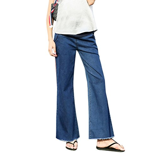 Zhhlaixing High Waist Belly Wide Leg Pants Maternity Dress Autumn and Winter Style Loose Flare Trousers for Schwangerschaft Pregnancy (Jeans Flare Wide Leg)