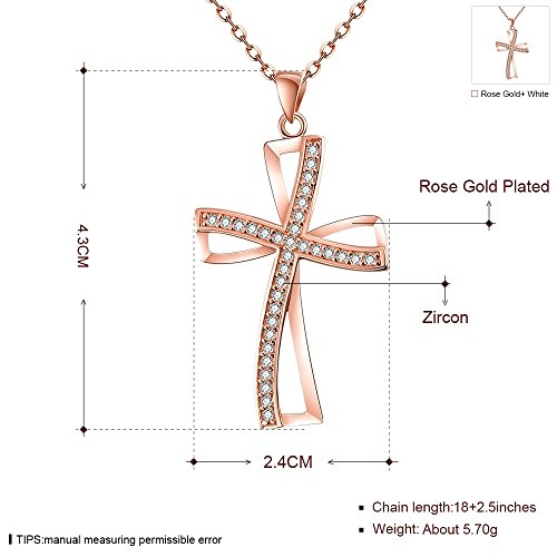New retro fashion da donna in oro rosa con zirconi di droops jewellery-collana con ciondolo, da donna